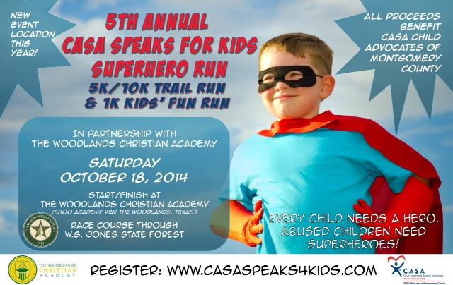 CASA 5K & 10K Trail Run and 1 K Kids Fun Run, Saturday October 18th 2014