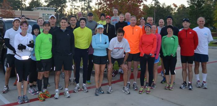 A cool 45 F Sunday run from H&H Kitchen in the Woodlands 11-18-12